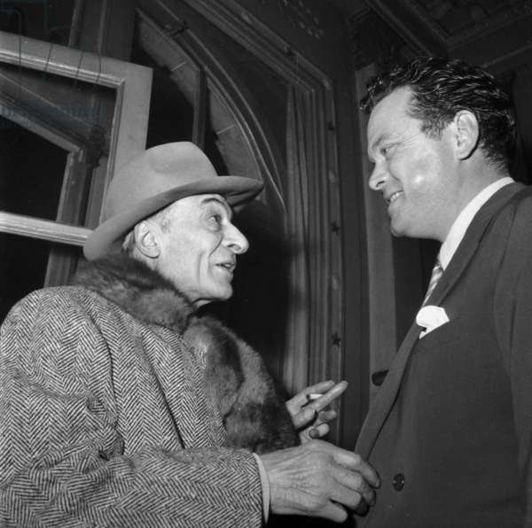 Actors Jules Berry and Orson Welles in Paris on January 28, 1949 (b/w photo)