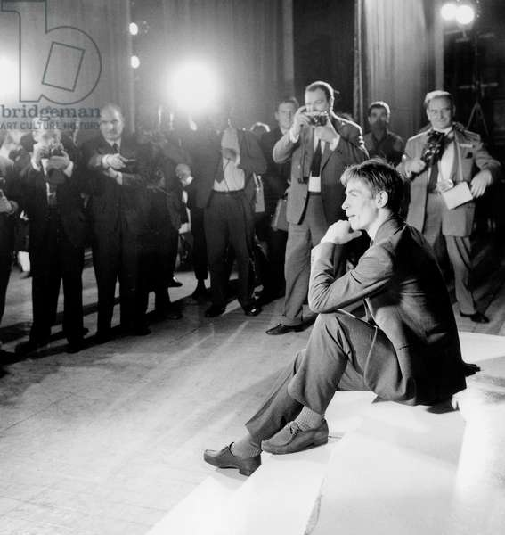 Soviet Dancer Rudolf Noureev at The Theatre Des Champs Elysees in Paris, June 22, 1961 (b/w photo)