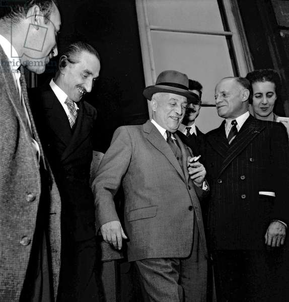 French ministerial crisis on October 9, 1949 at the Elysee, in Paris : French politician Henri Queuille (b/w photo)