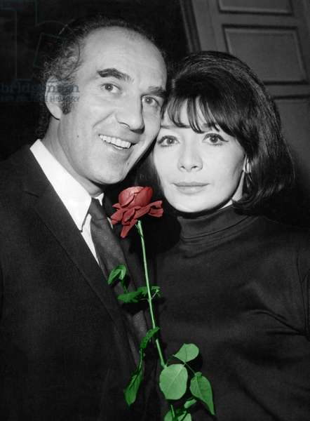 Actors Juliette Greco and Michel Piccoli at Home After Their Wedding on December 14, 1966 (photo)