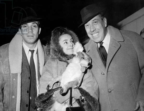 French Actors Franck Fernandel, Liane Dayde and Fernande Back From Tour in Canada and United States December 14, 1965 (b/w photo)