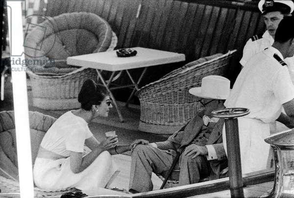 Maria Callas and Winston Churchill, on the yacht Christina, Monte Carlo, August 1959 (b/w photo)