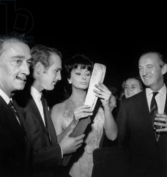 Coktail For Film Lady L : Salvador Dali, Paul Newman, Sophia Loren and David Niven on November 24, 1964 (b/w photo)