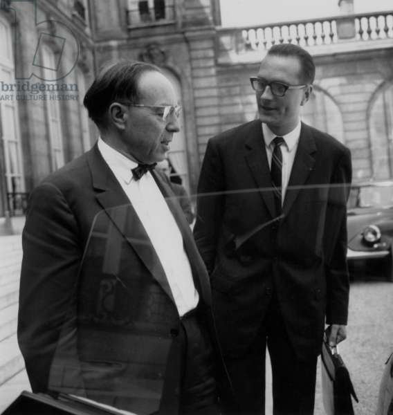 Jean Marcel Jeanneney and Jacques Chirac Leaving Elysee Palace After Ministers Council July 12, 1967 (b/w photo)