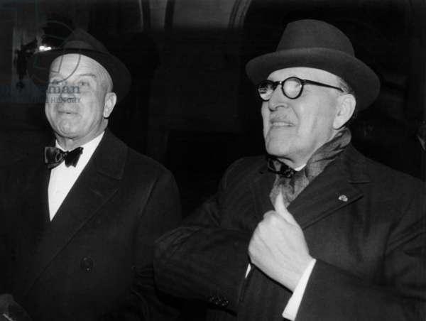 The French General Pierre Guillain De Bénouville (L, Deputy of Paris) and Marcel Dassault (R) For The Premiere of The Film Le Parrain in Paris, October 18, 1972 (b/w photo)