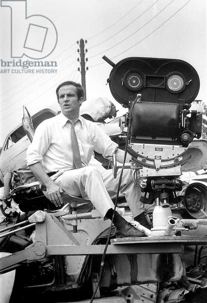 "Francois Truffaut, French Film Maker, on Set of Film ""The Bride Wore Black"" on May 29, 1967 (b/w photo)"