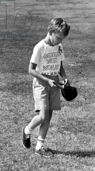 Prince Albert of Monaco (Future Albert Ii) Playing Baseball in Monaco in 1966 (b/w photo)