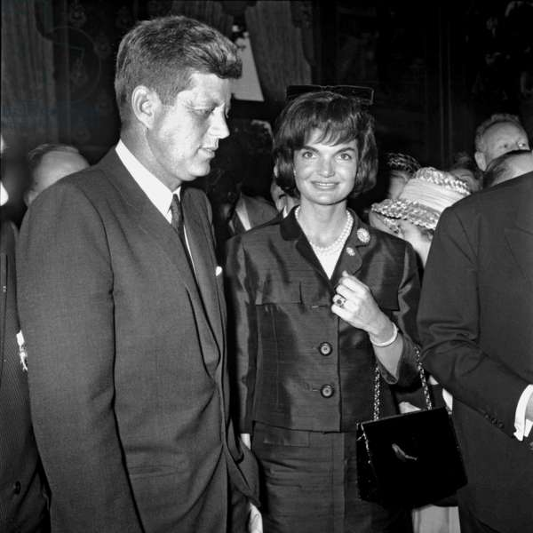 American President John Kennedy and his Wife Jackie in Front of Paris City Hall June 1St, 1961 (Jackie Wearing Dark Blue Silk Suit Created By Ninon in 1961) (b/w photo)