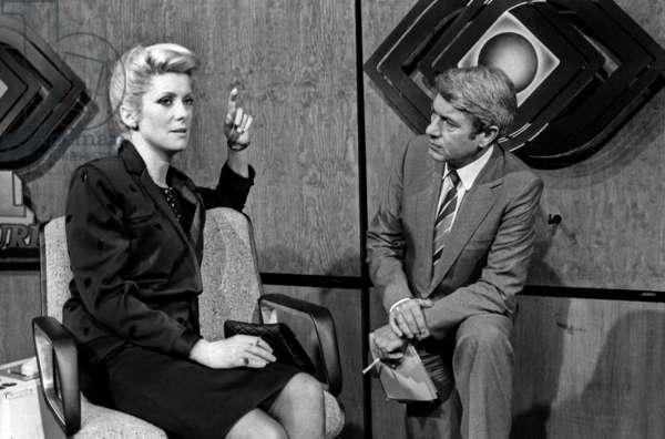 """Catherine Deneuve during Promotion of Film """"The Last Metro"""" Speaking To Roger Gicquel September 17, 1980 (b/w photo)"""