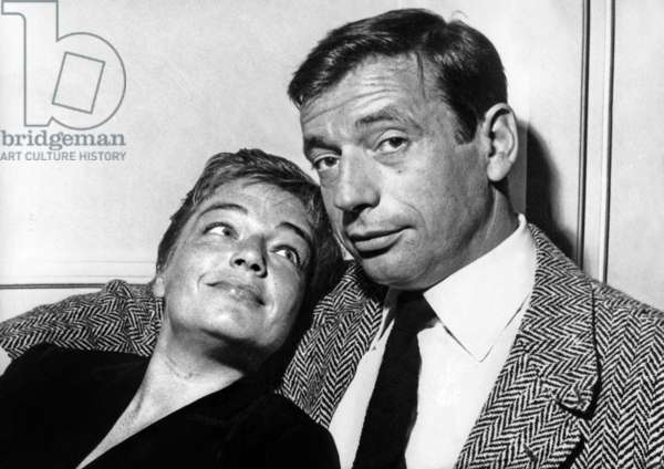 Yves Montand and Simone Signoret at their home, 1957 (b/w photo)