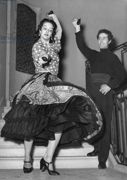 Mexican Actress Maria Felix With Dancer Jose Torres For The Film La Belle Otero By Richard Pottier. Studios Saint-Maurice, June 1954 (b/w photo)