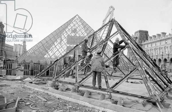 Building of Louvre Pyramid in Paris, February 12, 1988 (b/w photo)