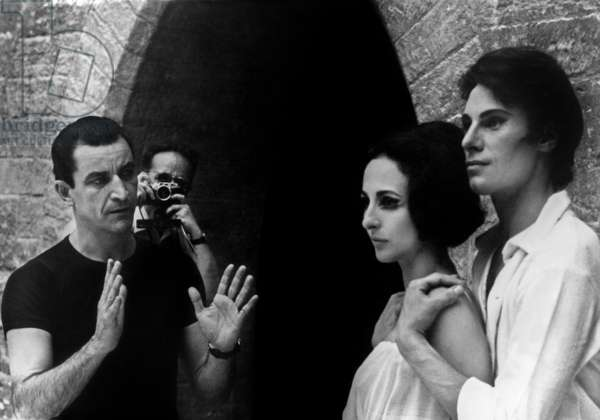 "Maurice Bejart With Dancers Paolo Bortoluzzi and Laura Proenca during Rehearsals of Ballet ""Romeo Et Juliette"" in Avignon July 29, 1967 (b/w photo)"