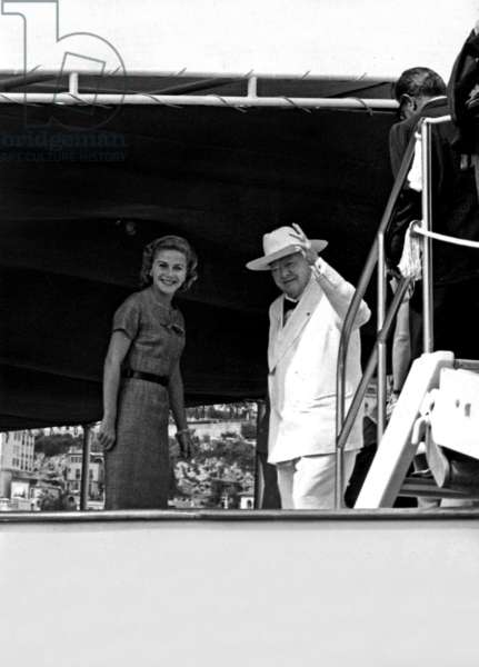 Sir Winston Churchill and Tina Onassis on board the yacht Christina, Monte-Carlo, September 1958 (b/w photo)