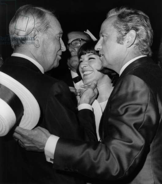 Anne Marie Peysson and Guy Lux Congratulating Maurice Chevalier For his Birthday (80 Years Old) at The Lido, Paris, September 13, 1968 (b/w photo)