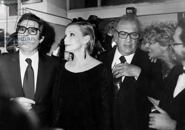 Marcello Mastroianni, Anna Prucnal, Federico Fellini at Cannes Film Festival May 21, 1980 (b/w photo)