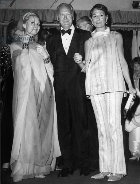 Curd Jurgens With his Wife Simone (R) and Eliette Von Karajan at Premiere of Moulin Rouge Cabaret Revue April 11, 1967  (b/w photo)