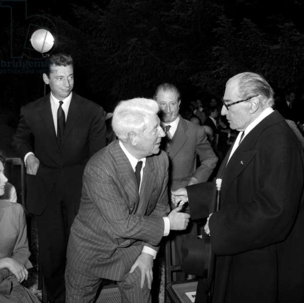 """On June 21, 1955 in Paris, Prize Giving Ceremony (""""Victoires Du Cinema"""") : Yves Montand, Jean Gabin and Sacha Guitry (b/w photo)"""