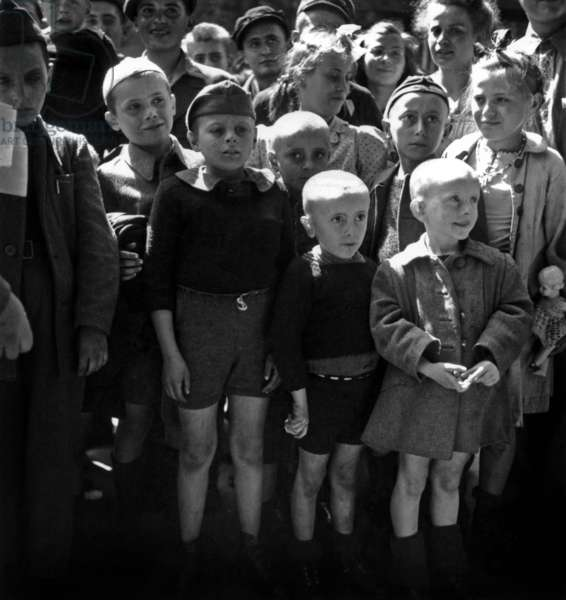 Arrival of The Children Interned in Concentration Camp, in May 1945 (b/w photo)