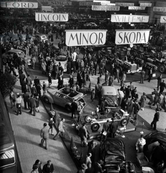 Opening of The Auto Show, Grand Palais, Paris, October 3, 1946 (b/w photo)