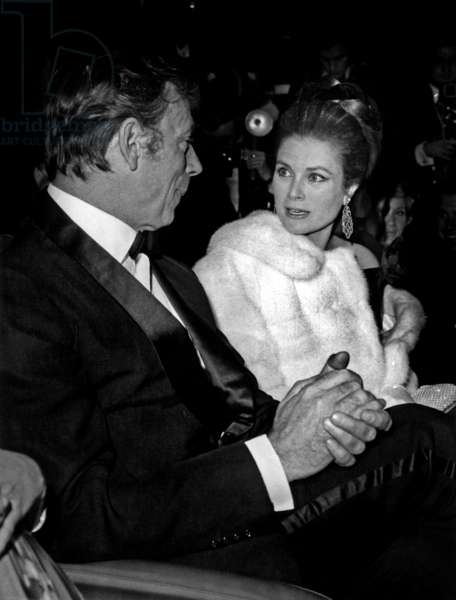 Actor Yves Montand and Princess Grace De Monaco at Premiere of Film Grand Prix By Johnfrankenheimer in Paris, Empire Theatre, March 10, 1967 (b/w photo)