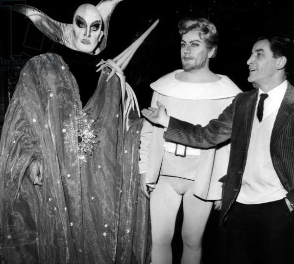 French Choreographer Maurice Bejart (R) With Guy Chauvet (As Faust) and Jacques Mars (L, As Mephisto)At The Opera Garnier in Paris on March 12, 1964 (b/w photo)