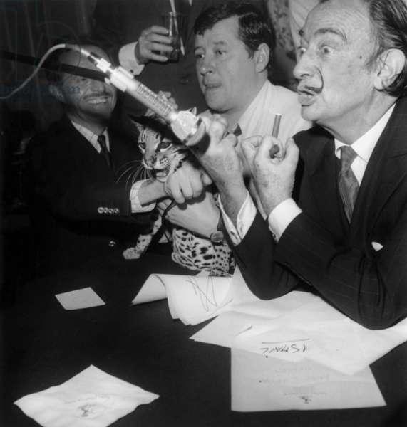 Salvador Dali With Journalist Jean Pierre Farkas during Radioprogram on Rtl May 6, 1967 (b/w photo)