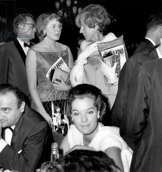 Premiere of Gala at Lido Parisian Cabaret : Claude Pompidou (Right) Ingrid Bergman and Husband Lars Schmit (Left) Romy Schneider and Director Henri Verneuil (Front Row) December 2, 1964 (b/w photo)