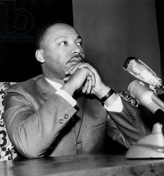 Press Conference of Martin Luther King Activist of Civil Rights Movement here in The American Church in Paris March 27, 1966 (b/w photo)