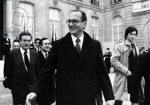 Jacques Chirac, The Mayor of Paris at The Head of The Delegation of The Town Council With The Gaullist Christian De La Malene and Jean Tiberi Into Present his Wish To The President of Republic, Valerygiscardd'Estaing, in The Elysee, in Paris, on January 3Rd, 1980 (In Right The Journalist Patrick De Carolis) (b/w photo)