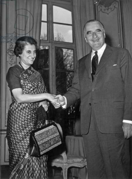 Indira Gandhi and Georges Pompidou in Paris on March 25, 1966 (b/w photo)