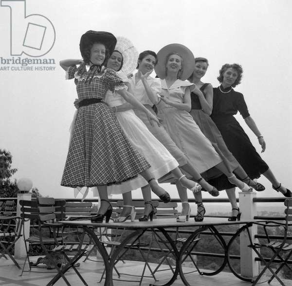 Dancers Solange Schwarz, Yvette Chauvire, Zizi Jeanmaire, Lycette Darsonval, Colette Marchand and Genevieve Kergrist in Robinson, July 21, 1949 (b/w photo)