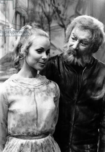 Mireille Negre and Pierre Brasseur on Set of TV Programme August 22, 1969 (b/w photo)