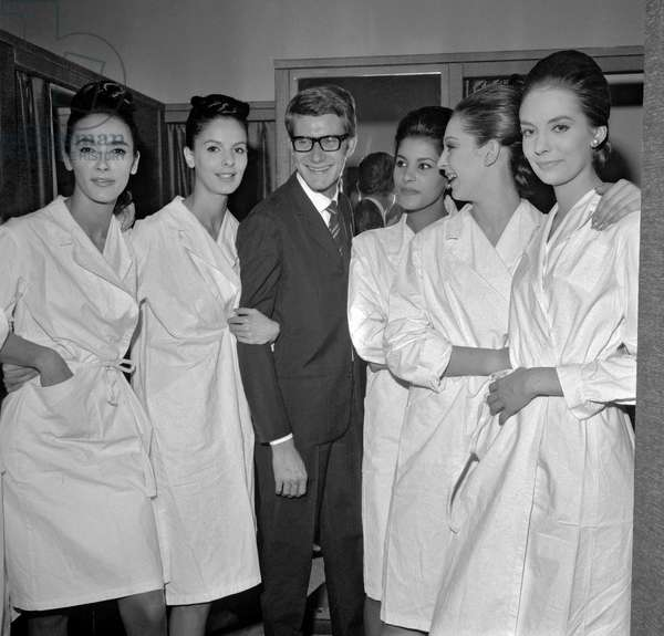 Yves Saint-Laurent and his models, 1964 (b/w photo)