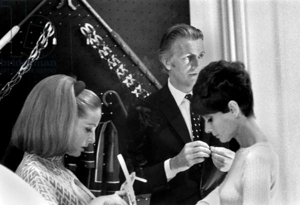 Inauguration of A Boutique By Hubert De Givenchy With Audrey Hepburn and Mrs Yul Brynner on September 3, 1968 (b/w photo)