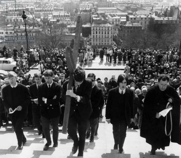 The Members of The Stations of The Cross in The Square of The Basilica Sacre-Coeur in Paris, April 12, 1968 (b/w photo)