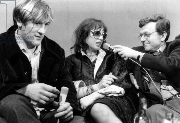 "Gerard Depardieu and Isabelle Adjani Presenting Film ""Barocco"" during International Film Festival in Paris November 22, 1976 (b/w photo)"
