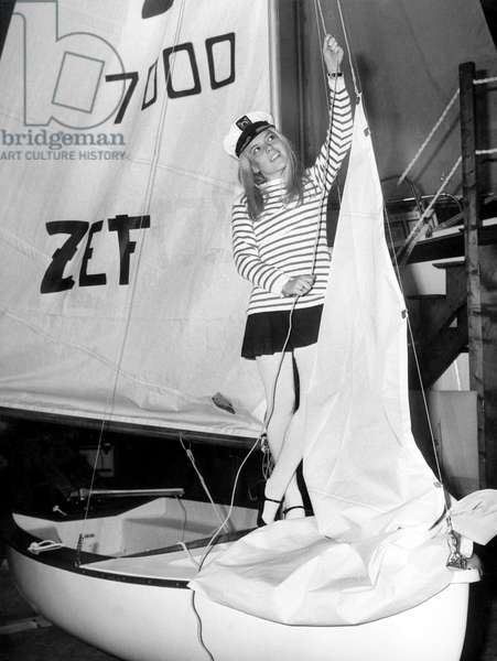 France Gall at 7Th International Boating Fair in Paris , here on Boat Zef January 17, 1968 (b/w photo)