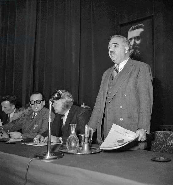 Socialist congress in Paris on December 13, 1949 : Edouard Depreux (b/w photo)