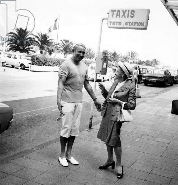 Charles Trenet Welcoming his Mother Marie-Louise Caussat at Nice Cote D'Azur Airport (France) August 11, 1973 (b/w photo)