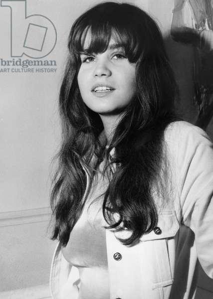Maria Schneider on May 15, 1970 in Paris (b/w photo)