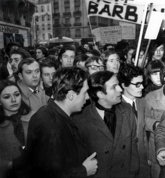 French Director Francois Truffaut during Demonstration For Defence of French Film Archive Institution in Paris March 19, 1968 (b/w photo)