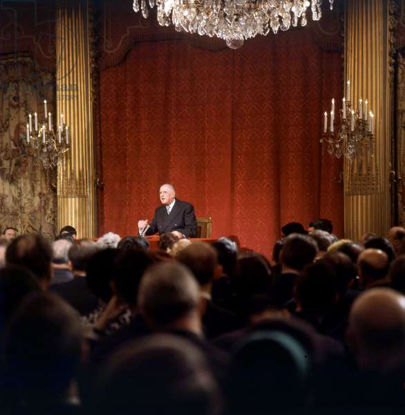 First Press Conference of General Charles De Gaulle After his Reelection As President February 21, 1966 (photo)