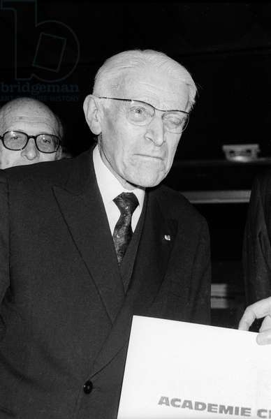Pianist Vlado Perlemuter Receiving Prize March 10, 1988 (b/w photo)