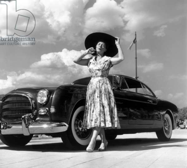 French Actress and Producer Viviane Romance at Car Fashion Show in Enghien on June 19, 1954 (b/w photo)