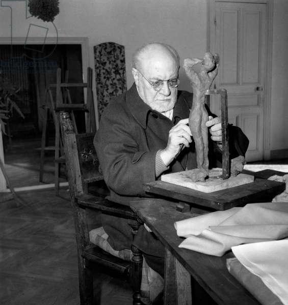 French Painter Henri Matisse (1869-1954) here in Nice (French Riviera) on April 17, 1951 (b/w photo)