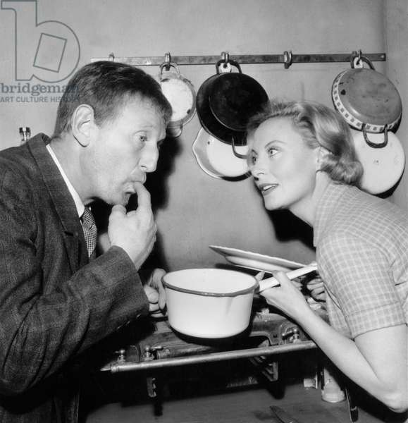 Bourvil and Michele Morgan on the set of 'Fortunat' in 1960 (b/w photo)