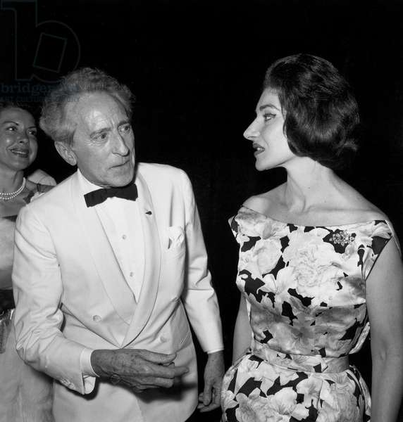 """Jean Cocteau and Maria Callas After Showing of Film """"L'Amerique Insolite"""" at Cannes Festival May 18, 1960 (b/w photo)"""