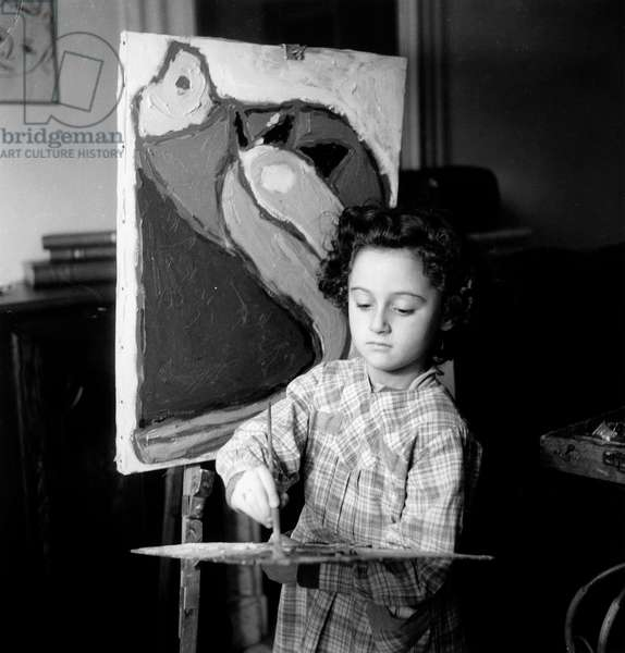 Six Years-Old Girl Evelyne Delian Young Surrealist Painter October 12, 1947 (b/w photo)