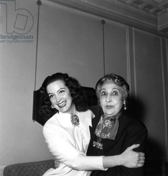 Maria Felix and the Belle Otero at Cannes Film Festival on April 4, 1954 (b/w photo)